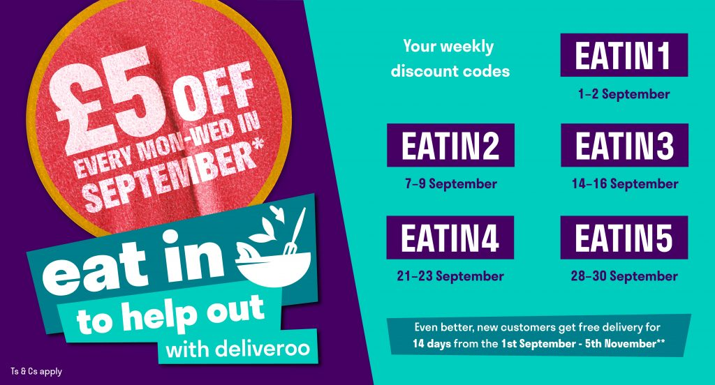Eat In to Help Out Deliveroo Discount Codes